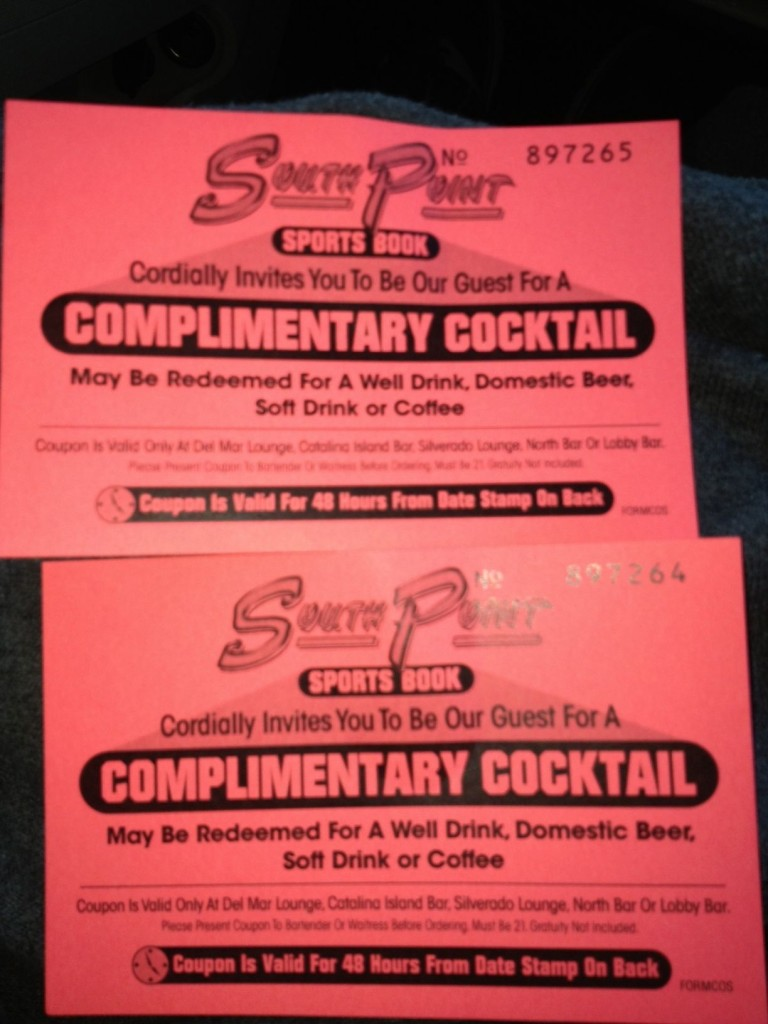 South Point sports book Drink Tickets