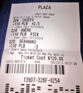 3-Team 10-point NFL Teaser William Hill Las Vegas