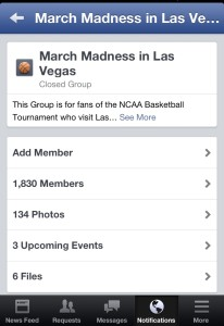 The March Madness in Las Vegas Facebook Group - Nearly 2,000 Members Strong