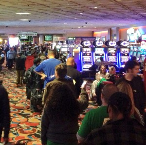The Line to Make a Super Bowl Bet on Sunday Afternoon Stretched to the Casino (LVH)