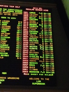 The Big Board at the LVH Sports Book in Las Vegas