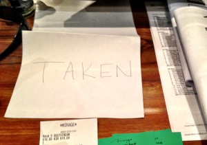 "There are Times When a ""Taken"" Sign is OK....and Not Ok at the Sports Book"