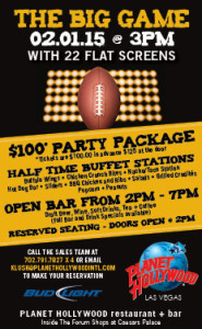 Planet Hollywood Restaurant Big Game Party