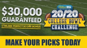 William Hill Sports Books in Las Vegas Offering up $30,000 this College Bowl Season