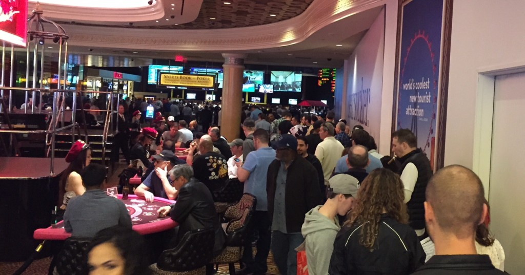 Long Lines Were the Norm During Super Bowl Weekend in Vegas. Caesars Palace