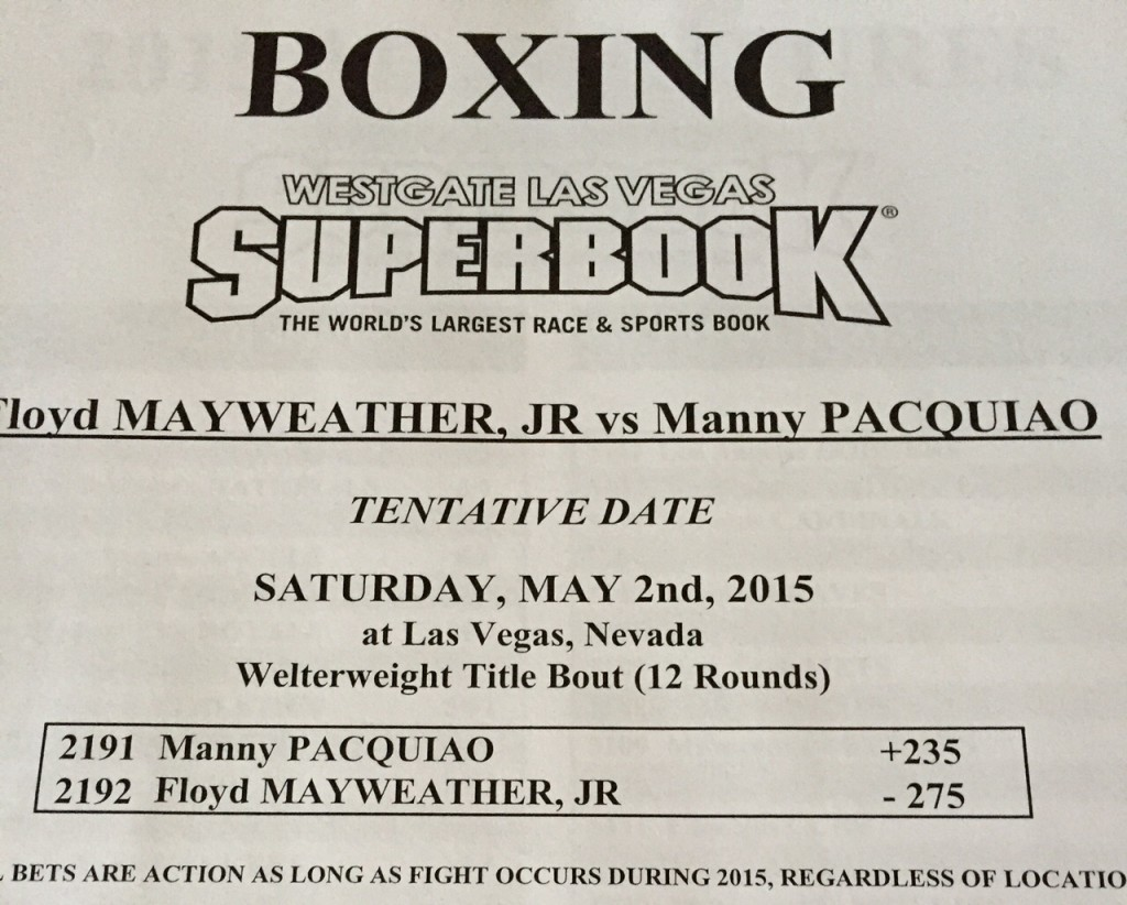 Vegas Opening Line on Manny Pacquiao vs Floyd Mayweather
