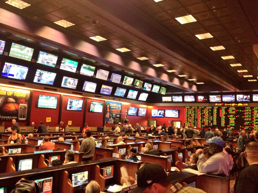 Vegas Sports Books Fill up Early During March Madness Pictured: Orleans Sports Book
