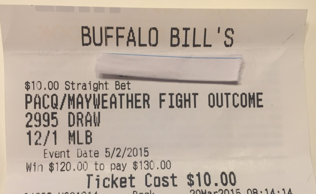 Las Vegas Sports Book Ticket - Maweather Pacquiao Draw