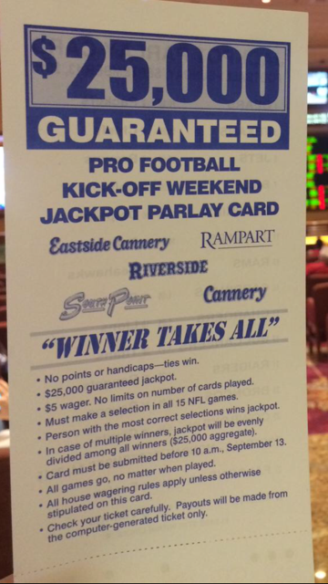 $25,000 SouthPoint Sports Book Jackpot Parlay Card