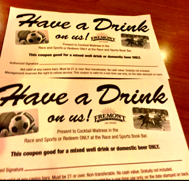 Free Drink Tickets at The Fremont Sports Book