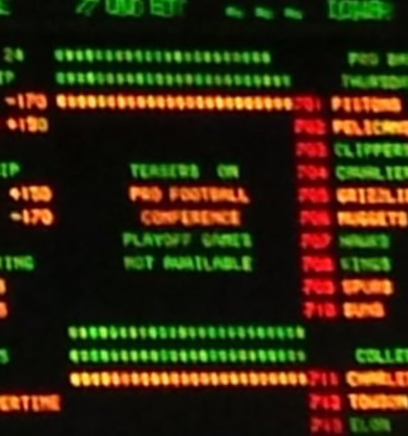 "The Big Board at the Sports Book Showing ""Teasers Not Available"" Thanks to @kirksports (twitter) for photo"