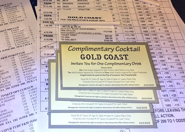 Gold Coast Sports Book Free Drink Tickets
