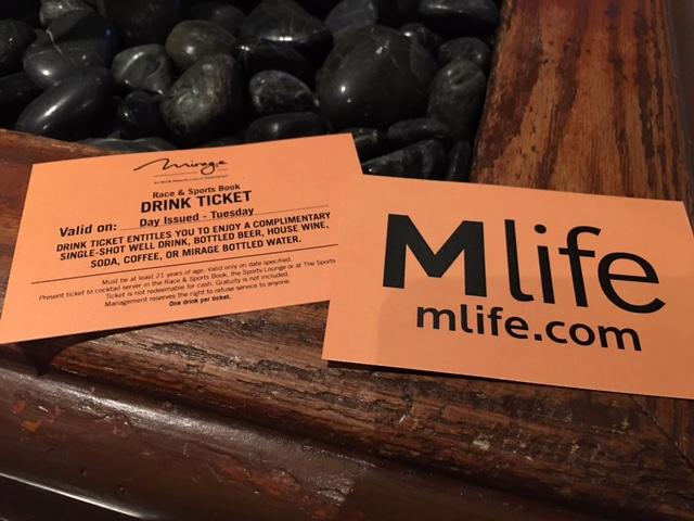 Mirage Sports Book Drink Tickets