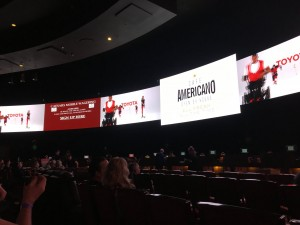 Caesars Palace Sports Book Screens. Restaurant Ads on Every Other Screen for Super Bowl